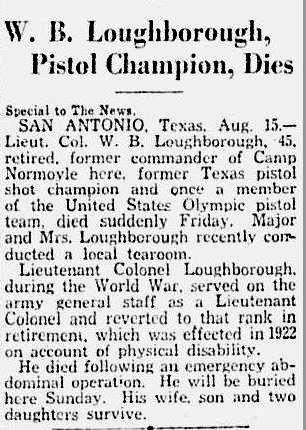 W. B. Loughborough death news clipping (August 1930)