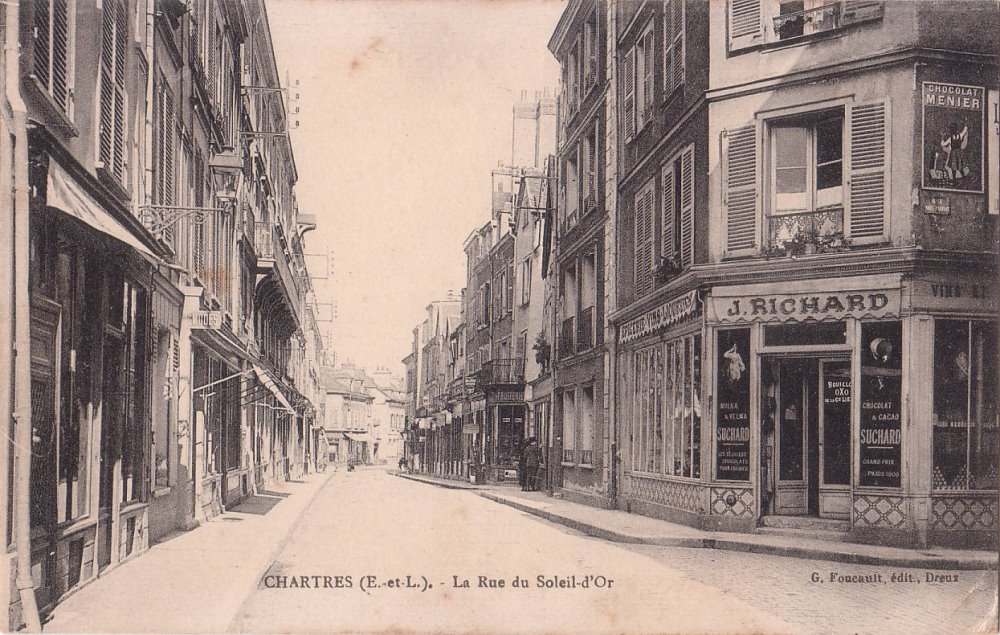 The street Sally lived on in Chartres, France (1920s)