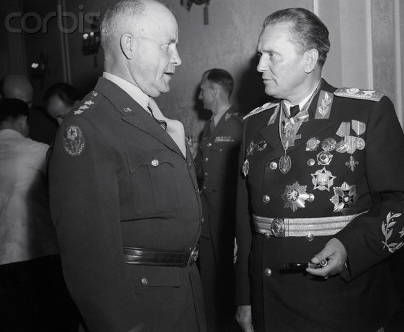Lt. Gen. John C.H. Lee during a reception given by Tito in Belgrade on the anniversary of V-E Day, May 9, 1946.